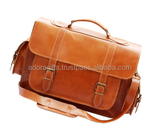 tan leather laptop bags with shoulder strap / business style laptop cases and bags / customized high tech laptop bags
