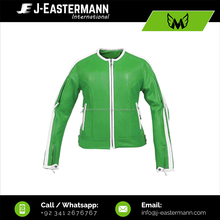 Cheapest Price High Quality Women Green Leather Motorcycle Jacket with White Trimming CE Armors