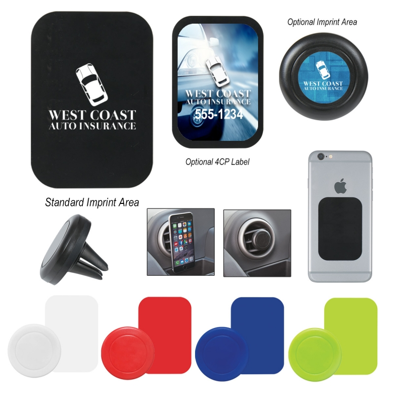 Magnetic Auto Phone Mount - metal plate adheres with peel and stick adhesive backing, magnetic mount and comes with your logo