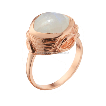A wonderfully created matt finish Ring made of Rose gold plated Silver and Rainbow moonstone