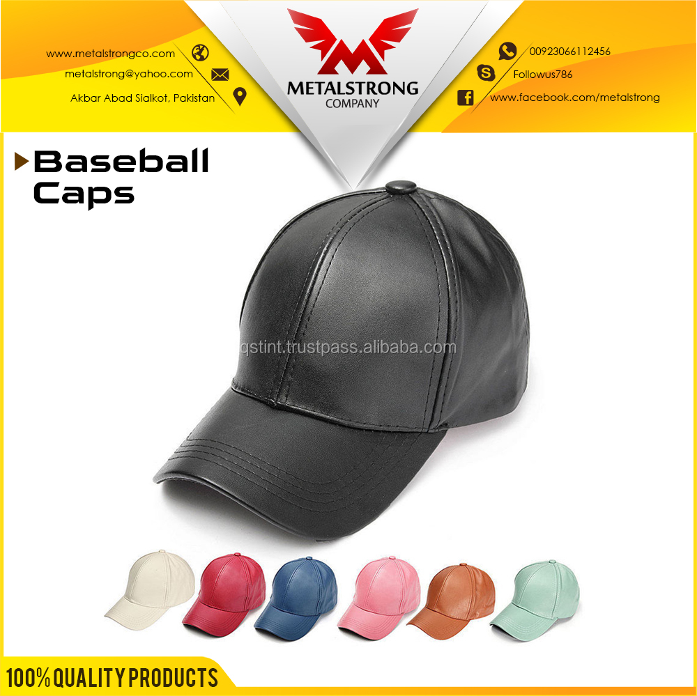 Leather Baseball Cap Unisex Snapback Outdoor Sport Adjustable Hat For Mens & Womens