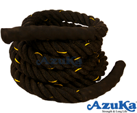 AZUKA Battle Rope 1.5 inches 50 ft. Black Color with Yellow Tracer; Exercise Rope; Fitness Rope