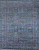 In Stock Indian Rugs Hand Knotted Denim Blue Color Wool & Silk 9x12 Traditional Rugs and Carpets for Home R-4