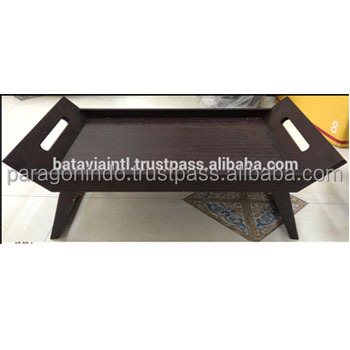 Black Wooden Breakfast Tray with Handle