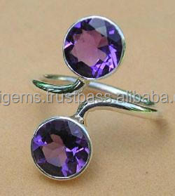 AMETHYST ADJUSTABLE 925 STERLING SILVER RING