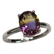 IMPRESSIVE 3 CT OVAL CUT AMETRINE 925 STERLING SILVER RING SIZE 5-10