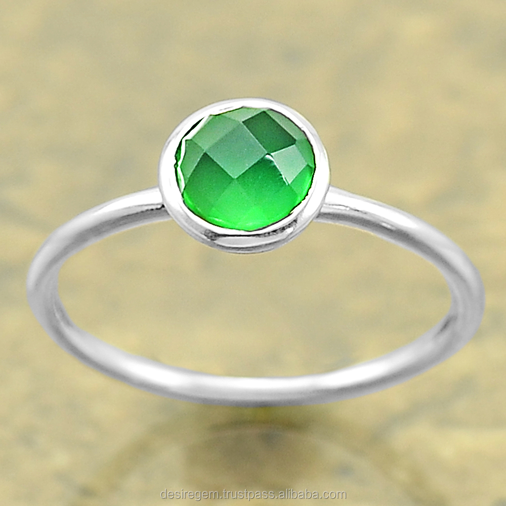 Green Onyx Online Sterling Silver Ring