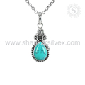 Drop shape pendant sky turquoise gemstone jewelry 925 sterling silver pendants indian jewelry online