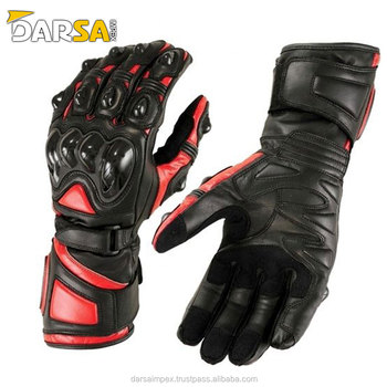 Red and black cowhide leather motorbike gloves