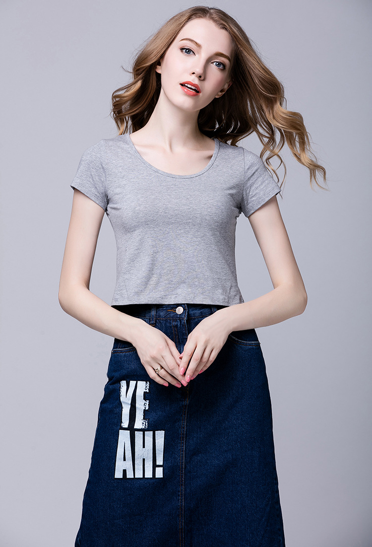 2018 summer new women's clothing Europe and the United States Modal short-sleeved t-shirt women's pure color round neck short pa