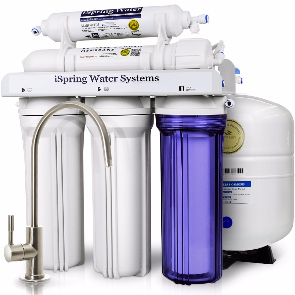 iSpring 75GPD 5-Stage Reverse Osmosis Water Filter System - RCC7