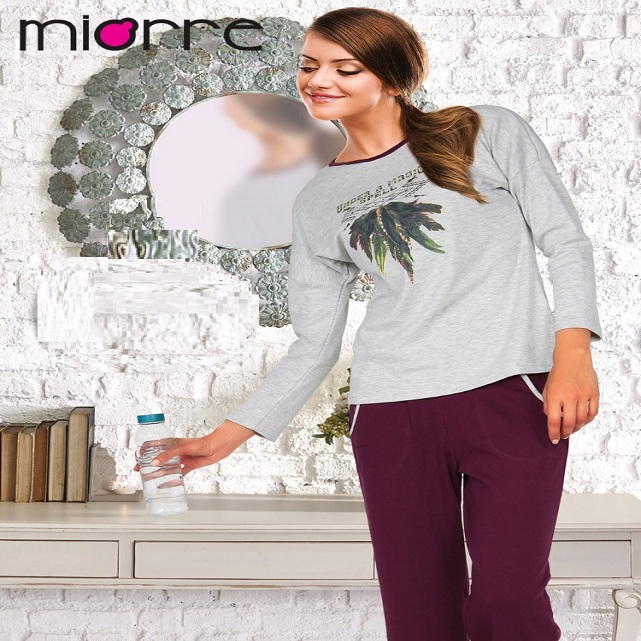 MIORRE OEM WOMEN'S NEW 2017 COLLECTION LONG SLEEVEE PATTERNED TOP & PLAIN BOTTOM SLEEPWEAR PAJAMAS SET