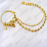 Bridal Wedding Wear Gold Plated Handmade Kundan Stone Pearl Beaded Indian Ethnic Fashion Nath Nose Ring