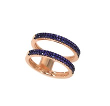 stunning design blue cz set rose gold plated ring silver 925 jewellery