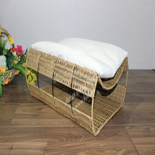 New product plastic wicker Pet basket/ Dog bed with cushion inside - CH2873A-1YL