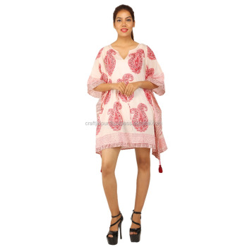 Beautiful paisley printed indian cotton kaftan wholesale ladies short caftan poncho