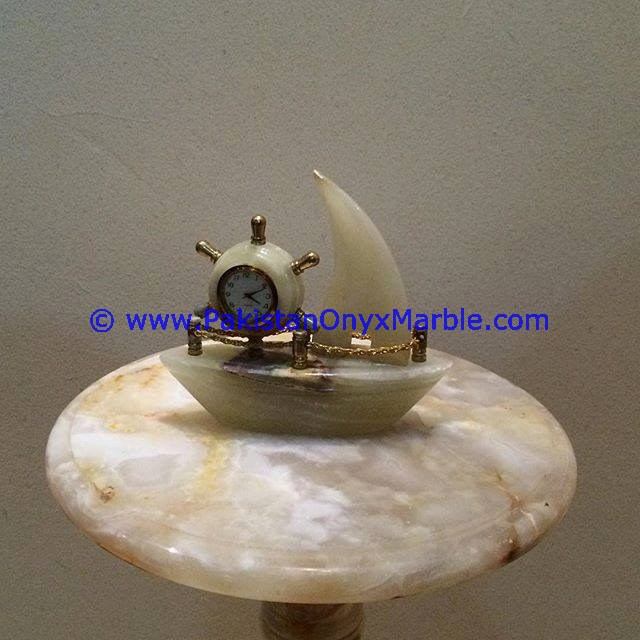 POLISHED WHITE ONYX SHIP SHAPE TABLE CLOCKS