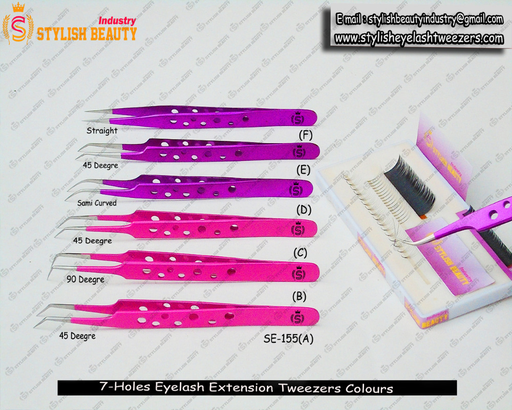 Colours Of eylash extension tweezers Beautifull / Magenta , Pink Colour Tweezers From Stylish Beauty Industry