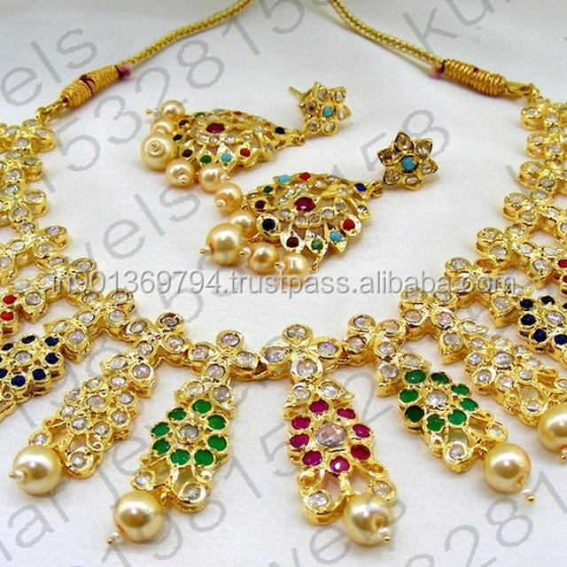 Multi Color Navratan Pearl Beaded 22kt Gold Plated Traditional Wedding Wear Indian Bridal Uncut Polki New Design Necklace Set