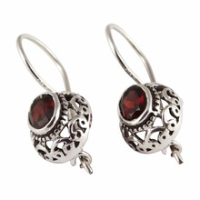 Natural Red Garnet 925 Sterling Silver Oval Shape Earring, Wholesale Silver Jewelry, Unique Silver Jewelry