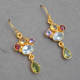Mix Color Natural Gemstone Earring in Sterling 925 Silver Gold Plated, Chandelier Earring in Silver, Topaz Stone earring