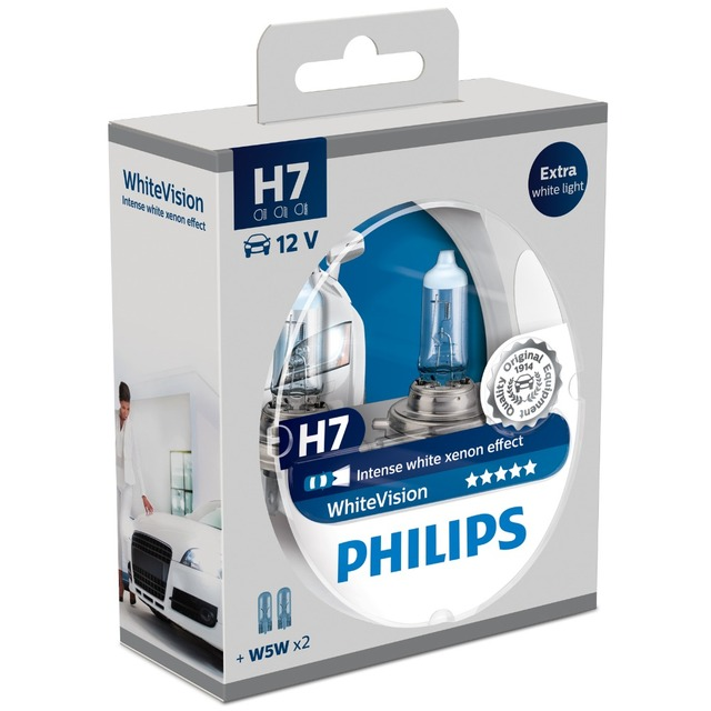 Philips White Vision WhiteVision Car Headlight Bulbs H7 (Twin Pack) 12972WHVSM