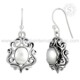 Freshwater pearl antique work earrings 925 sterling silver jewelry handmade silver earrings wholesaler jewelry