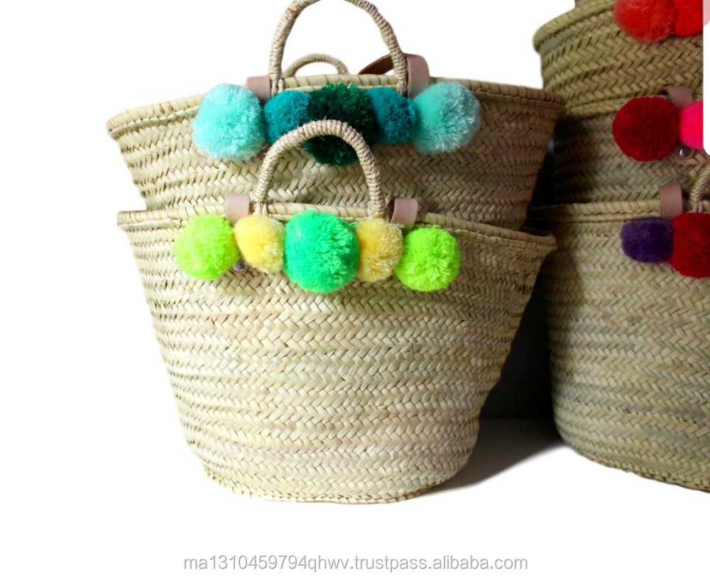 Moroccan Straw Baskets/Leather and POM POM Multi colors