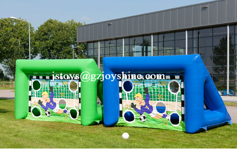 Just Fun Inflatables Portable Inflatable Sport Shooting Game Soccer Football Target Goal Post With Football