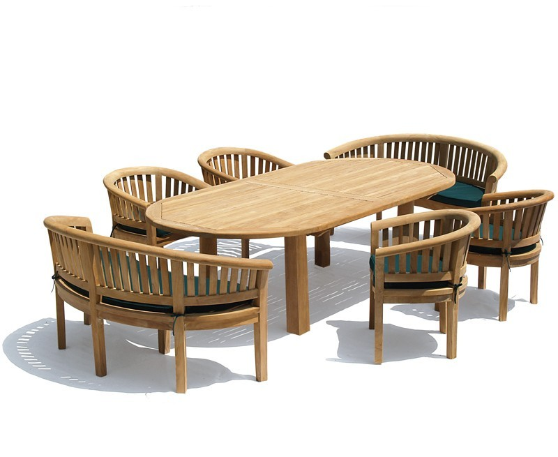 NEW Modern Orion Oval Contemporary Dining Table and Chair Bench Set - Outdoor Patio Furniture