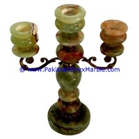 NATURAL COLOR ONYX CANDLE HOLDERS WITH BRASS STAND