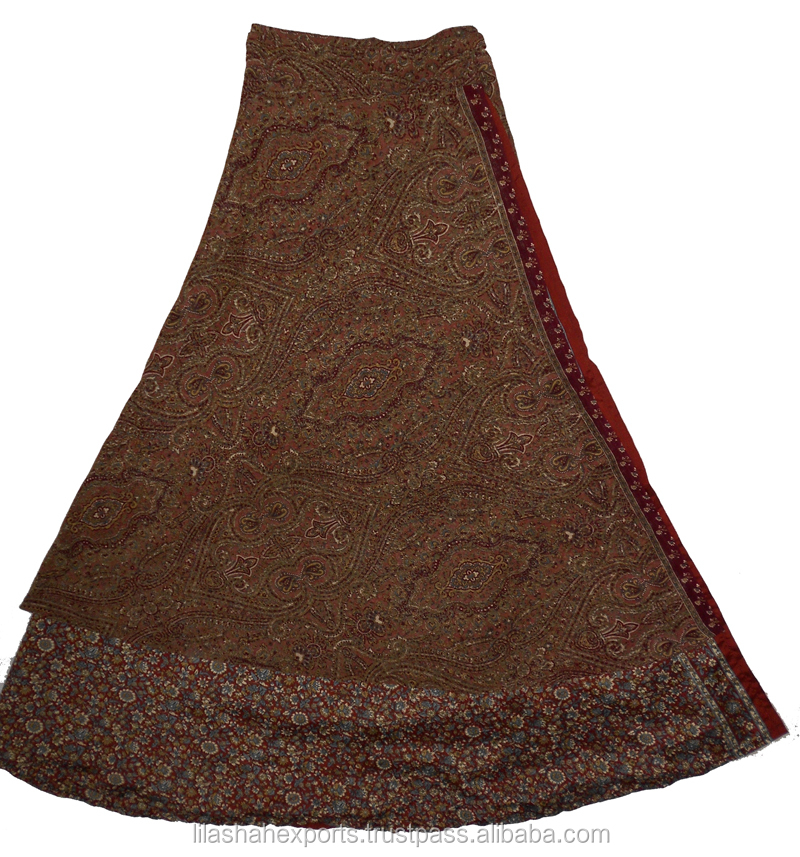Indian Straight Long Over Legging Silk Wrap Skirt
