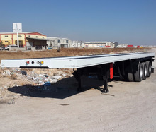 20ft /40ft Double Tyres High Capacity 3 Axles Flatbed Container Carrier Semi Trailer