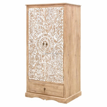Bedroom Furniture Antique Design Carved Doors Solid Wooden Bedroom 2 Doors 1 Drawer Wardrobe