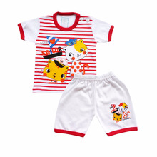 Spring Wear Baby Clothes Baby Sleepwear Set For Baby Boys Short Sleeve Stripped Cat Printed T-shirt with Pants SKBP2527S