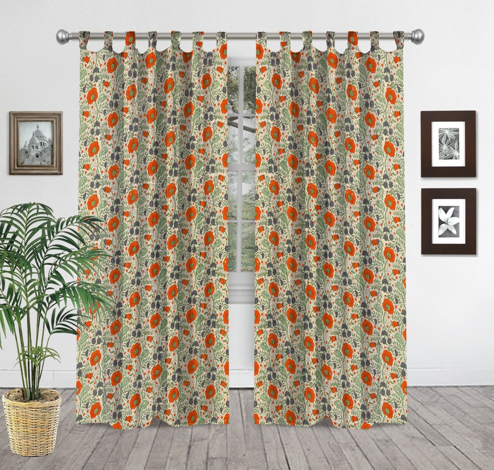 Hand Block Print Tapestry Indian Curtain 100% Cotton Fabric Curtains Window  Drapery Decor