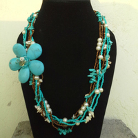 Pearl & Coral Beaded Fashion Necklace