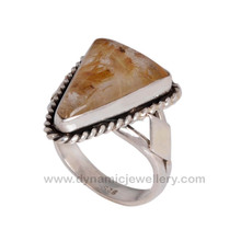Stylish look of beautiful golden rutile silver ring