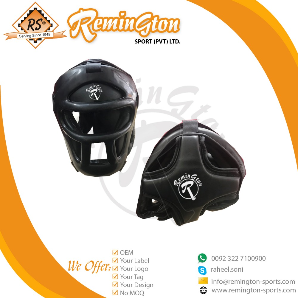 BHG-03 New OEM Service Head Protector Kick Boxing Head Guard Color black with front back view