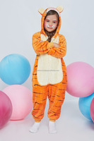 Tiger Kids Pajamas With Butt Flap Pockets Kigurumi Plush Onesie Hooded Animal Cosplay Costume Onsie Jumpsuit Home Clothes
