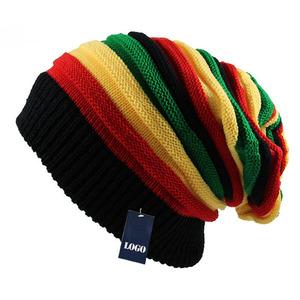 100% Acrylic Rasta Beanie Women Slouch Beanie Hat Multi Color Striped Beanie  Warm Winter Hats 0659b19d17d9
