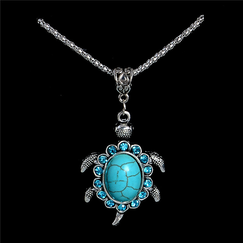 Vintage Stone Necklaces Long Chain Tortoise Crystal Necklaces For Women Clothing Accessory Birthday Gift
