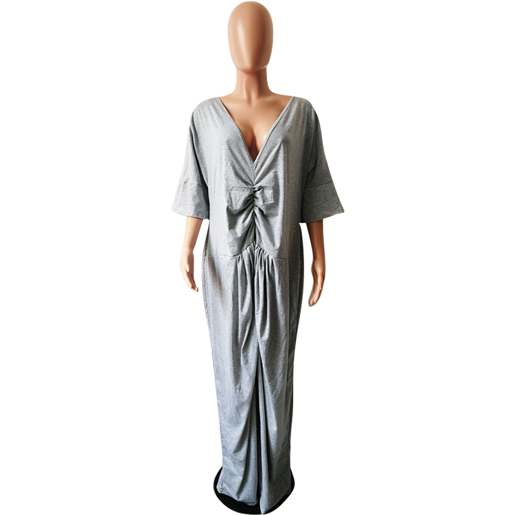 Wholesale fashion women casual v-neck loose fit baggy long maxi dress
