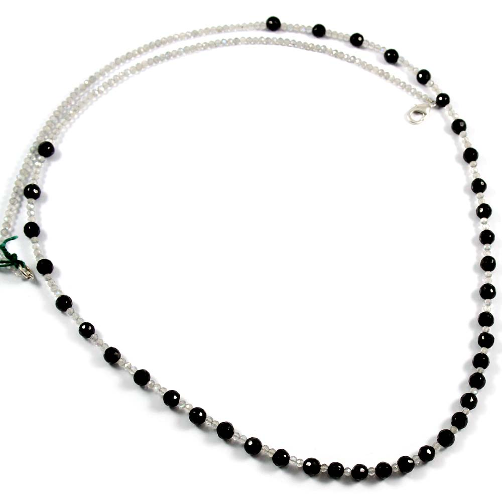 Silver Gemstone Beaded Jewelry Round Black Spinel and Labradorite Beads Necklace