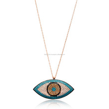 New Season Mix Stone Evil Eye Design Pendant Wholesale Handmade 925 Sterling Silver Jewelry For Women