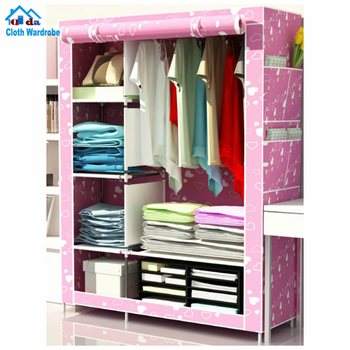 Non-woven easy assembled bedroom wardrobe cheaper price