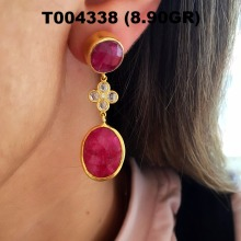 Fashionable Gold Plated 925K Sterling Silver Ruby Pearl Earrings