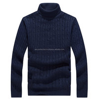 Heavy cable turtleneck pullover men knit sweater