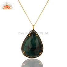 Natural Emerald Gemstone Pendant Handmade Gold Plated Silver Chain Pendant Manufacturer Diamond Jewelry Supplier