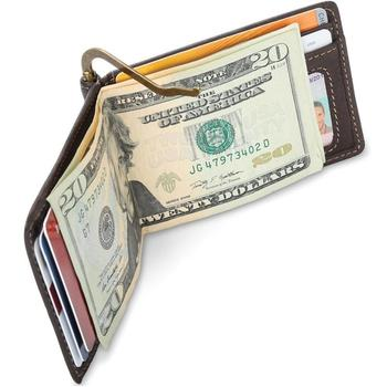 Ultra Slim Genuine Leather Wallet With With Money Clip RFID Blocking